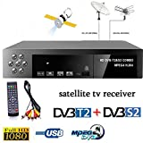 Leoie Smart Digital Satellite TV Receiver DVB-T2+DVB-S2 FTA 1080P Decoder Tuner MPEG4