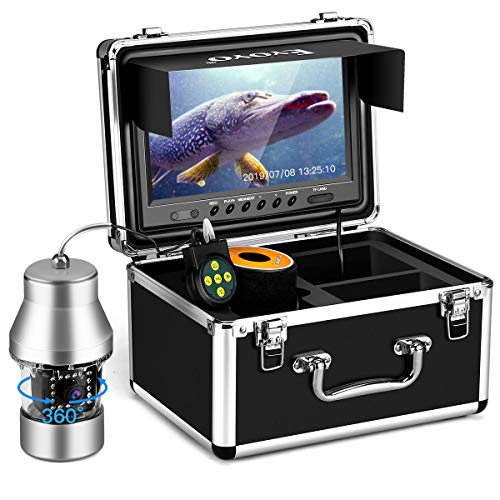 Eyoyo Underwater Fishing Camera Video Fish Finder DVR Function 9 inch Large Color Screen 360 Horizontal Panning Camera 1000TVL w/ 18 Infrared IR Lights 30M Cable for Lake Sea Boat Ice Fishing