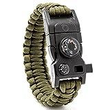 Steinbock7 Bracelet de survie en paracorde 16en 1 avec pierre à feu, sifflet, couteau,...