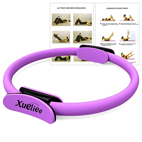 Xueliee Pilates Double Handle Ring - Dual Grip Magic Exercise Circle to Burn Fat, 15 Inch/38cm