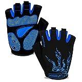 MOREOK Mens Cycling Gloves,Half Finger Biking Glove MTB DH Road Bicycle Gloves Gel Pad Shock-Absorbing Anti-Slip Breathable Motorcycle Mountain Bike Gloves Unisex Women Blue-L