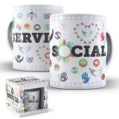 Caneca de Porcelana com Caixinha Presente 325ml Profissões Serviço Social mod.02