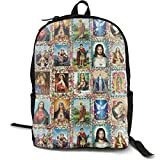 XCNGG Mochila de impresión de fotograma Completo para Adultos Mochila Informal Mochila Mochila Escolar Lightweight Durable Backpack Daypack for School Travel Hiking, Catholic Saints Images