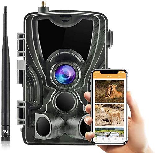 SUNTEKCAM 4G Fotocamera Caccia Fototrappola 16MP 1080P Wildlife Camera Impermeabile IP66 Trail Camera, Visione Notturna Invisibile, Macchine Fotografiche da Caccia 801 LTE (Scheda SD Inclusa)
