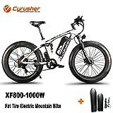 Cyrusher XF800 1000W Electric Mountain Bike 26inch Fat Tire e-Bike 7 Speeds Snow Beach Cruiser Mens Sports Mountain Bike Full Suspension 48V 13AH Lithium Battery Hydraulic Disc Brakes (White)