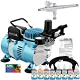Master Airbrush Airbrushing System Kit with 8 Color Water-Based Face & Body Art Paint Set, Cool Runner II Dual Fan Air Compressor, Pro Gravity Airbrush, Hose - Washable Temporary Tattoo, How to Guide