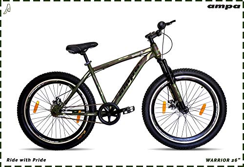 Ampa Cycle for Adults with Front Shocker and Dual Disc Brakes Semi Fat Bike for Men & Women with Triple Alloy Rims (Matte Green/Camouflage/Army Graphics) (Warrior 26\)