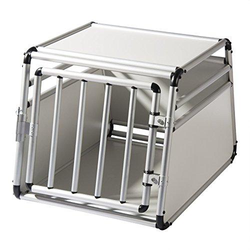 EUGAD Cage de Chien Caisse de Transport en Aluminium et MDF pour Chien Animal,Blanc,65x90x69cm,0058HT