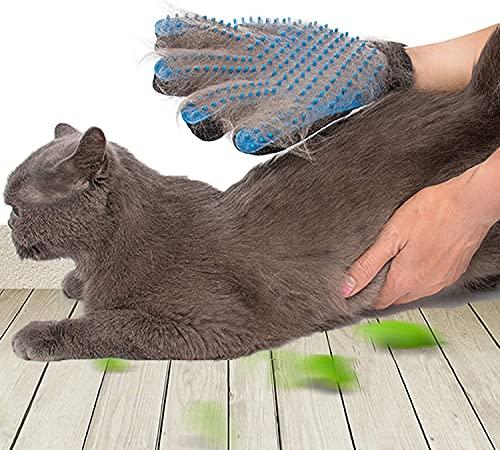 SSRIVER Pet Grooming Glove Hair Remover Brush Gentle Deshedding Efficient Pet Mitt Pet Massage Gloves Left & Right Hand Draw Dog Cat Horse Long Short Fur (1 Right Hand (Blue))