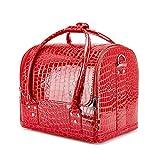 Caja de maquillaje profesional portátil de aluminio con cerraduras y bandejas plegables, color rojo