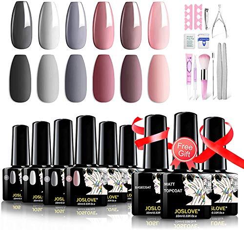JOSLOVE Nail Gel Nail Polish Kit 6 Nude Color Nail Gel Kit Matte Topcoat High Glossy without Nail Lamp (408 Gel Nail Polish Kit)