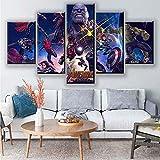 YJJPP Toile Murale Art Maison décorative 5 Ensemble Les Avengers HD imprimé...