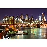 GREAT ART® Papier Peint – Pont de Brooklyn la Nuit – Décoration Murale...