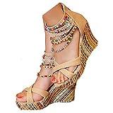 getmorebeauty Women's Wedge Sandals Pearls Across The Top Platform High Heels (7.5 US, Beige)