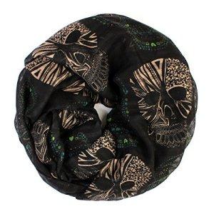 Bohemian Sugar Skull Print Scarf Shawl Wrap – Lightweight Colorful Calavera Women's Oblong, Infinity Circle Wrap Scarves