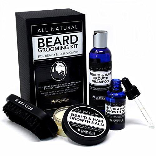 All Natural Kit per la Cura della Barba | Crescita di Capelli e Barba | Olio da Barba, Balsamo, Shampoo e Spazzola | Con Biotina, Legno di Cedro, Eucalipto e Rosmarino | Il Miglior Set Regalo da Uomo