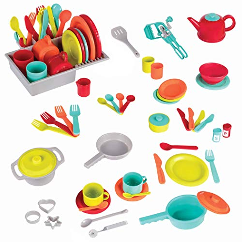 Battat- Set Giocattolo di Accessori Cucina per Il Gioco di Ruolo (71 Pezzi  Include pentole e padelle), BT2524Z