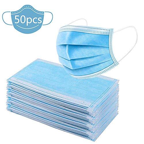 Cuscinetti usa e getta a 3 strati, anti polvere, traspiranti, usa e getta, per la protezione della bocca delle orecchie, comodi da indossare, elastici per le orecchie, colore: blu