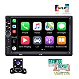 Hikity Autoradio Car Stereo Double Din 7 Inch HD Touch Screen Radio Bluetooth FM with USB/AUX-in/RCA/Rear View Camera Input Support Mirror Link D-Play for Android iOS Phone + Backup Camera & Remote
