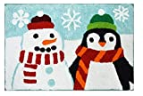 St. Nicholas Square Christmas Holiday Bath Rug, Soft and Absorbent Cotton Pile, 20 x 30 Inches, Snowman and Penguin Design for Indoor Winter Time Home Decoration