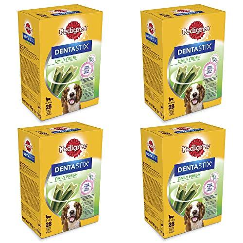 Pedigree Dentastix Fresh 112 Snack per la Igiene Orale (Cane Medio 10-25 kg) 180 g 28 Pezzi - 4 Confezioni da 28 Pezzi (112 Pezzi totali)