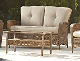 Cosco Outdoor Loveseat and Coffee Table, Amber Wicker and Tan Cushions