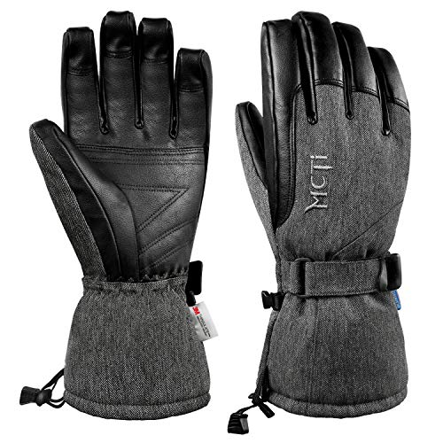 MCTi Ski Gloves Winter Waterproof Snowboard Snow Warm 3M Thinsulate PU Leather Cold Weather Gloves for Mens Womens Black Medium