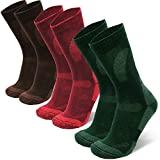 Merino Wool Hiking & Walking Socks 3 pack (Multicolor: Brown, Red, Green, US Women 8-10 // US Men 6.5-8.5)