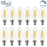 Dimmable E12 LED Candelabra Bulb, 60 Watt Equivalent B11 LED Chandelier Light Bulbs, Soft White 2700K, 550 Lumens, Candle Base Vintage Filament Bulb for Ceiling Fan Home Decorative, UL Listed, 12 Pack