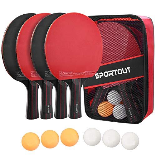 Easyroom Tischtennisschläger Set, 4 Tischtennis-Schläger + 6 Tischtennisbälle Tischtennis Schläger Set mit Tasche Profi Sport Set für Indoor & Outdoor Spiele