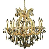 Elegant Lighting 2801D26G-GT/RC Royal Cut Smoky Golden Teak Crystal Maria Theresa 9-Light, Single-Tier Crystal Chandelier, 26' x 26', Finished in Gold with Smoky Golden Teak Crystals