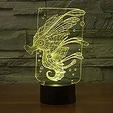 Solo 1 pieza Hippocampus 3d Luz nocturna Interruptor táctil remoto Lámpara de escritorio Lámpara de mesa de visión acrílica para dormitorio