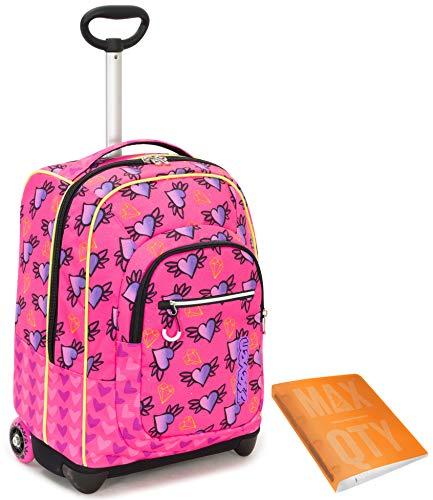 TROLLEY SEVEN + Quaderno Anelli Max Qty - Rosa Arancione - 35 LT Scuola e viaggio - Crossover System
