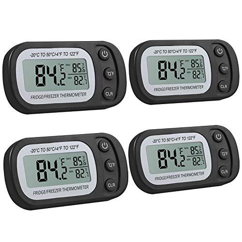 Justech 4PCS Digital LCD Frigorifero Termometro Hanging Impermeabile con Display LCD Funzione di...
