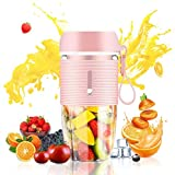Genqiang Portable Blender Personal Mini Size 300ml Juicer Cup for Handmade Fruit Juice Smoothie - Home Outdoor Travel USB Rechargeable Small Mixer with Waterproof BPA Free (Pink)