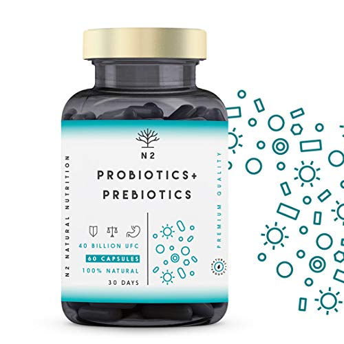 Probióticos y Prebióticos Intestinales, 60 cápsulas 40 Billones de Bacterias Probióticas Naturales, Mujer y Hombre. Mantenimiento Flora Intestinal, Trastornos Gastrointestinales. N2 Natural Nutrition