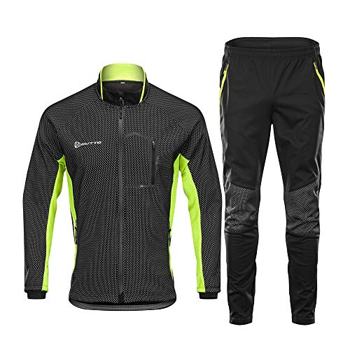 d.Stil Herren Fahrradbekleidung Set Langarm Fleece UV- Schutz Radjacke + Fahrradhose M - 3XL (Schwarz-Grün, XL)