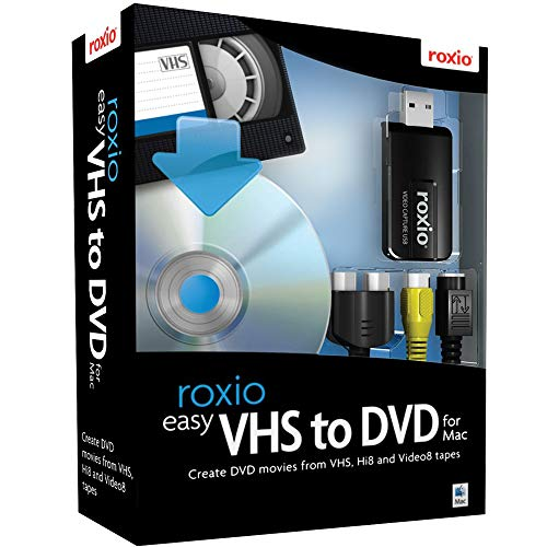 Roxio Easy VHS to DVD for Mac - Capture, Convert and Burn Video from VCR or Analog Camcorders - Convert VHS, Hi8 and Video8 tapes to DVD or Digital [Mac Disc]