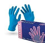 VENSALUD Guantes desechables de nitrilo sin polvo, caja con 100 guantes, color azul (M)