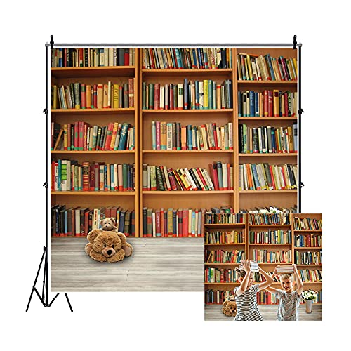 Leowefowa 5X5FT Bookshelf Backdrop Retro Bookcase Backdrops for...
