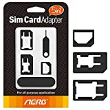 Sim Card Adapter, Aerb 5in1 Nano Micro Sim Card Adapter Kit with Sander Bar and Tray Open Needle