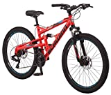 Schwinn Protocol 1.0 Dual-Suspension Mountain Bike with Aluminum Frame, 26-Inch Wheels, Red/Blue