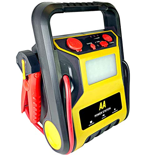 AA Power Station - Car Jump Starter Tyre Inflator AA1678 - Petrol Vehicles up to 2.5L and Diesels 1.6L - LED Light, 60cm Hose USB Output