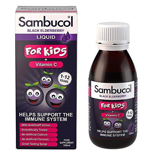 Sambucol Schwarze Holunderbeere für Kinder | Vitamin C | Unterstützung des Immunsystems | 120 ml
