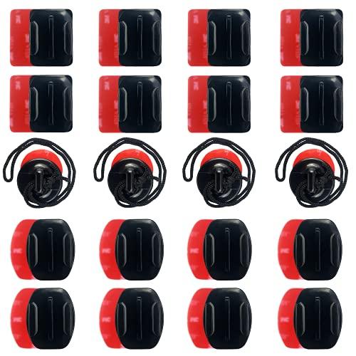 16 Set Adesivi per Caschi, accessori per fotocamere sportive superficie ,Adesivo per Montaggio Action Camera, accessori Go Pro ,4 sets di fibbie di sicurezza