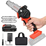 Mini Cordless Chainsaw Kit, Upgraded 4' One-Hand Handheld Electric Portable Chainsaw, 21V Rechargeable 3000mAh Battery Operated, for Tree Trimming and Branch Wood Cutting by New Huing