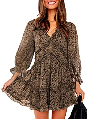 The ruffled hemline is chic and graceful Fitted bodice, high waist flared skirt gives a curvy silhouette Lovely solid color base with a floral print throughout Dokotoo Womens V Neckline Long Sleeve Open Back Leopard Print Mini Dress