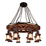 JYKOO Retro Industrial Chandelier 8 Head Wooden Wheel Home Decor Cafe Living Room Restaurant Classic Chandelier Lighting