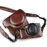 カメラケース Cyber-shot RX100 M2 M3 M4 M5 カメラバック ミラーレス一眼 DCS-RX100シリーズ DSC-RX100M2 DSC-RX100M3 DSC-RX100M4 DSC-RX100M5 対応 PUレザーケース ショルダーベルト付き ボッチ コーヒー (バムジャンプ) Vamjump
