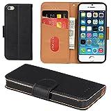 Aicoco Coque iPhone 5, Coque iPhone 5S, Étui Housse en Cuir Flip Case Cover pour Apple iPhone 5 / 5S / SE - Noir